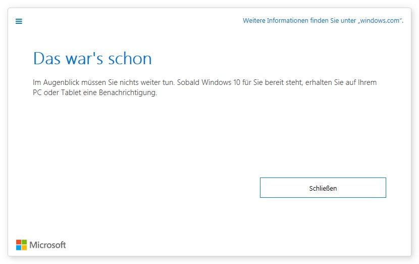 3. Schritt der Windows Reservierung