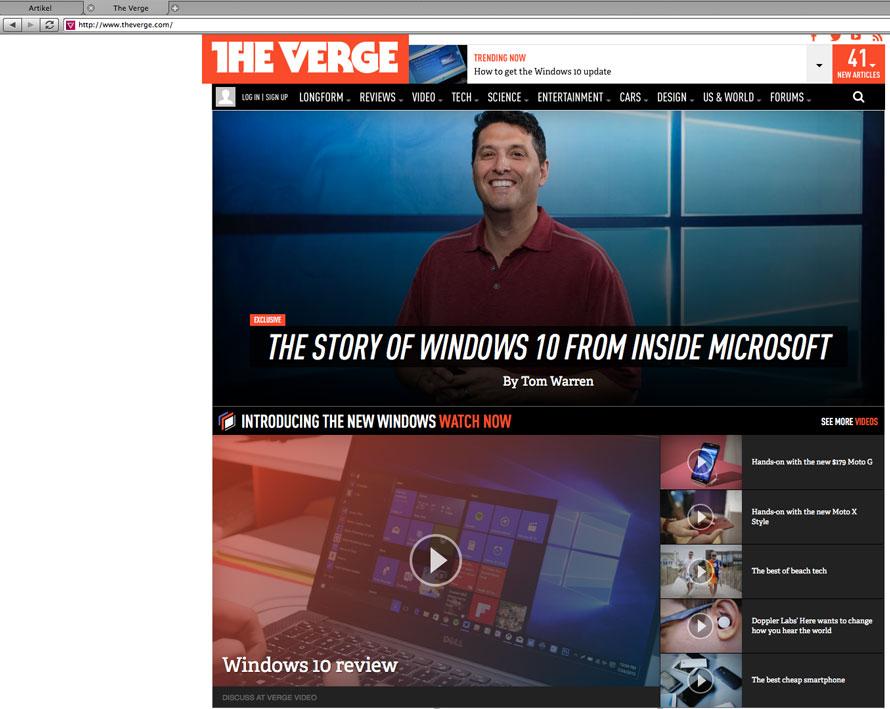 Bei TheVerge eine Videoreview über Windows 10 gefunden