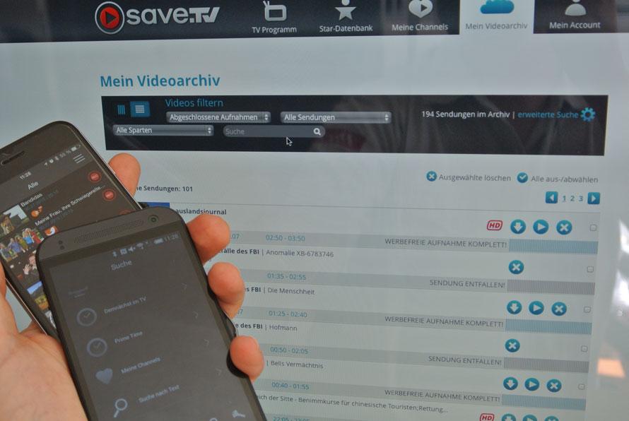 save.tv als desktop und mit Mobilgeräten wie Windows Phone