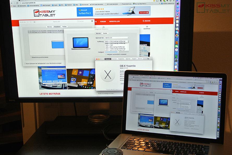 Fertiger Anschluss eines MacBook Pro via DisplayPort an dem BenQ 4k Monitor