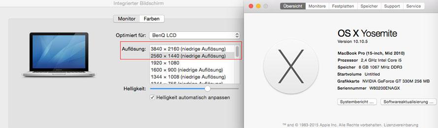 MacBook Pro 2010 Anschluss an Benq Profil
