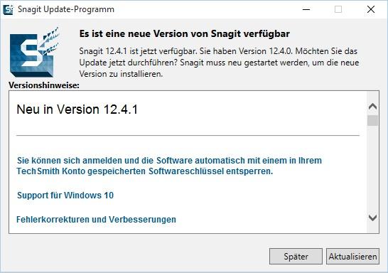 SnagIt Update auf Version 12.4.1