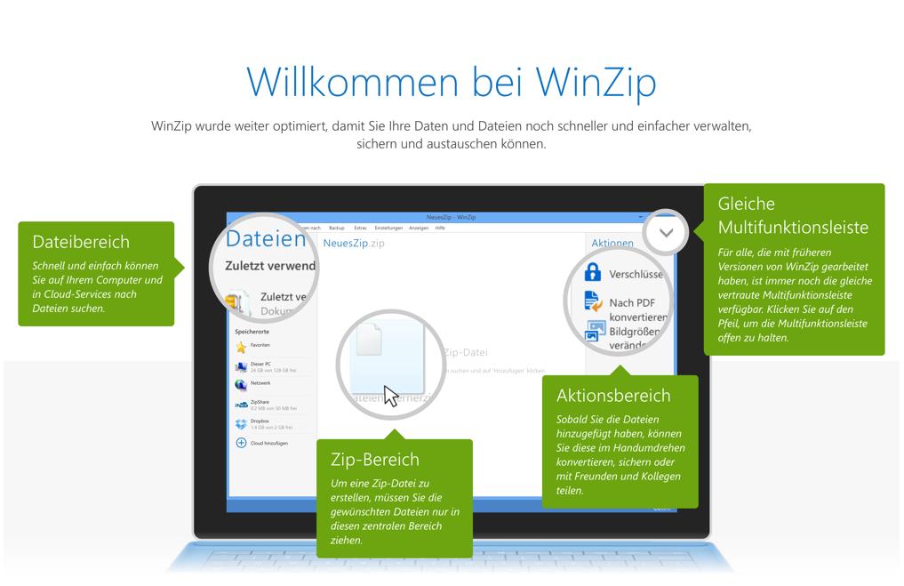 WinZip 20 Willkommensbildschirm