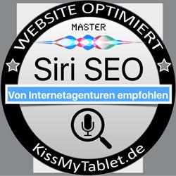 "Siri-SEO Optimierungs-Siegel MASTER für KissMyTablet.de""></a></div> </section><section id="